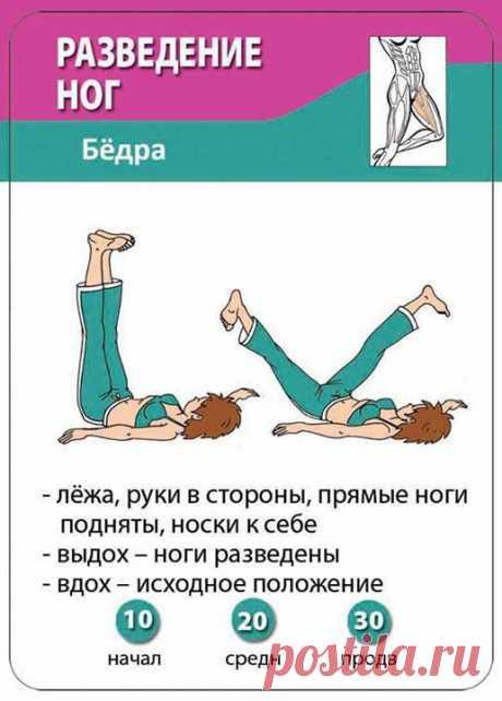 РАЗВЕДЕНИЕ НОГ В СТОРОНЫ. ДЛЯ ВНУТРЕННИХ МЫШЦ БЁДЕР. Разводите ноги в стороны как можно сильнее. Делайте упражнение медленно. Вы должны прочувствовать как тянутся мышцы бедер.