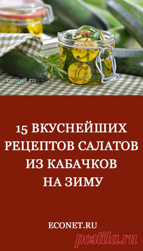 15 вкуснейших рецептов салатов из кабачков на зиму  Нежнейший вкус и низкая калорийность плодов сделали этот овощ одним из самых любимых и распространенных. Вы, конечно же, догадались, о котором из овощей идет речь? Да-да, именно о кабачке.