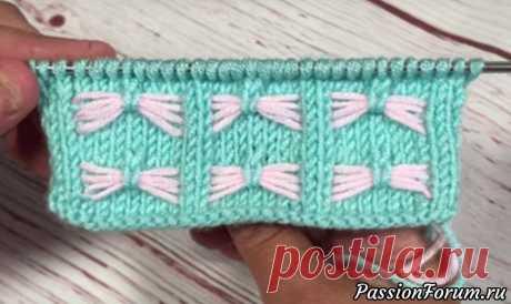 Двухцветный узор «Бантики» - простой и красивый. Используется в качестве отделки и для вязания детских пледов.