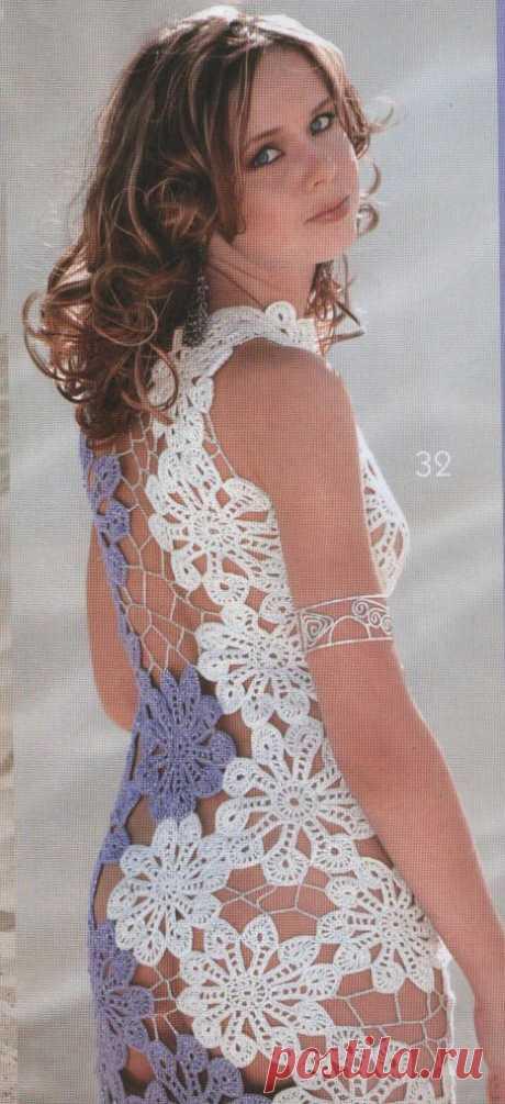 Платье из мотивов крючком для пляжа. Пляжная вязаная мода со схемами