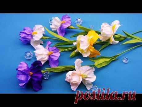 Irises of ribbons. DIY\/Flor del iris de las cintas\/Ирисы de las cintas. MK