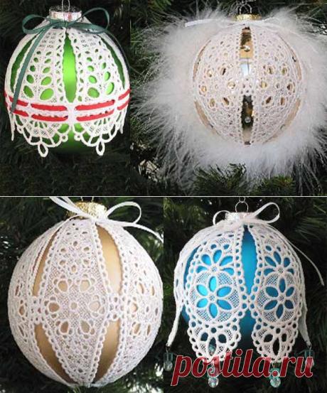 Декор новогодних шаров кружевом из клеенки | Уют и тепло моего дома