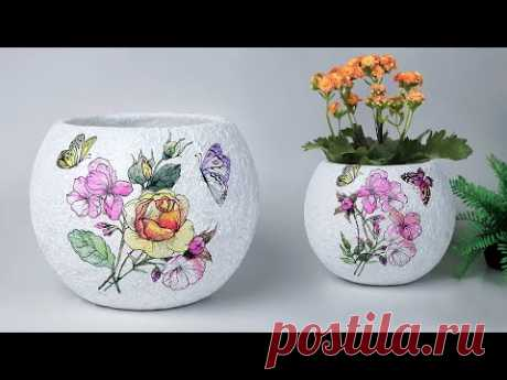 Easy flower vase Making || Cement flower vase - Tissue paper flower vase making