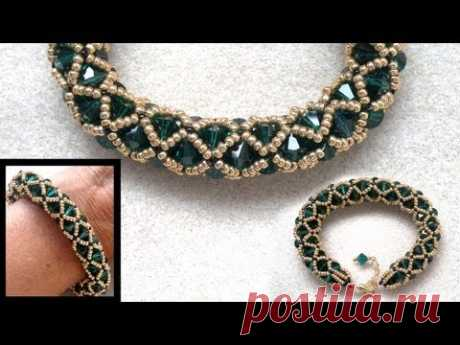 Beading4perfectionists : Netted bracelet with 6mm Swarovski and seedbeads beading tutorial