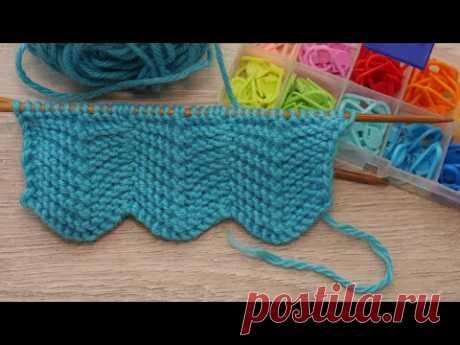 Двухсторонний узор «Зигзаг» для шарфа спицами 🧣 Double-sided «Zigzag» knitting pattern for a scarf ⚡