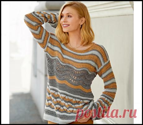 """""""Полосочка к полосочке"""" - модные полосатые пуловеры, скрывающие недостатки фигуры, спицами!"""