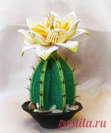 Цветы из бисера во французской технике: кактус