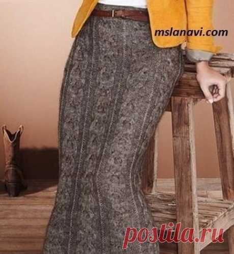 Длинная вязаная юбка с широкой косой - Вяжем с Лана Ви
