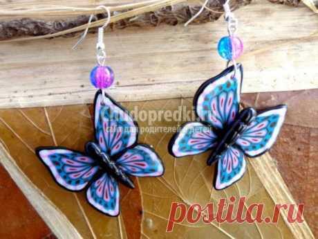 Серьги из полимерной глины с бабочками. Мастер класс с пошаговыми фото