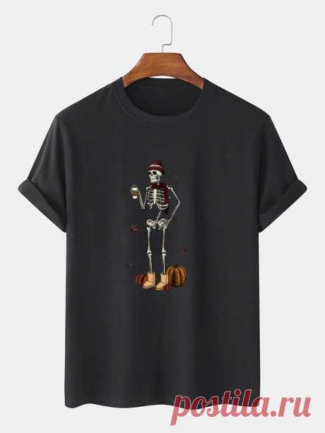 100% Cotton Mens Funny Pumpkin Skeleton Print Halloween Short Sleeve T-Shirts - US$12.99