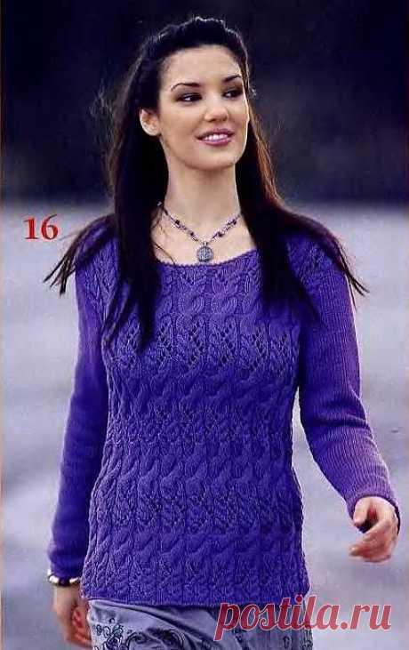 Пуловер узорными полосами.