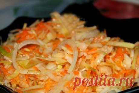 МАРИНОВАННАЯ КАПУСТА ЗА СУТКИ   ИНГРЕДИЕНТЫ: ● Капуста белокочанная - 2,5 кг ● Морковь - 700 г Показать полностью…