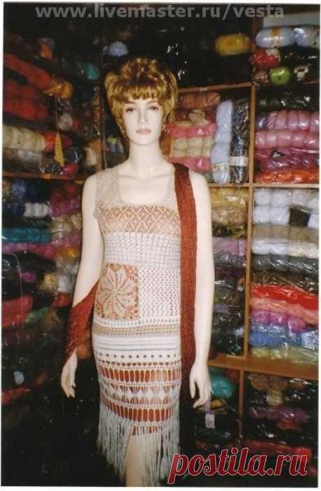 "Купить Сарафан ""Мережка"" - сарафан, крючком, ажурный, летнее платье, экрю, сарафан крючком"