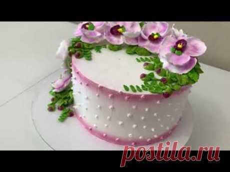 Орхидеи из Белкового Крема! Торт Нежная веточка ОРХИДЕИ! Красивый торт!