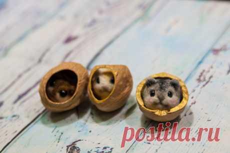 Маленькое рукодельное чудо в скорлупке грецкого ореха. Делаем необычную игрушку | Живые вещи | Яндекс Дзен