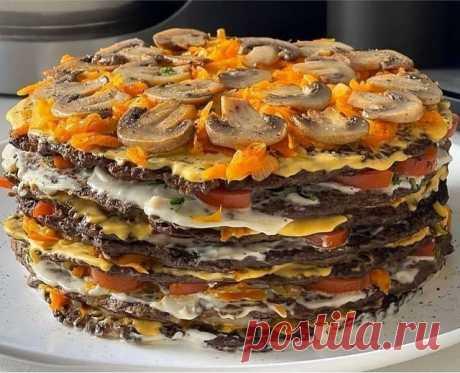 Вкусный и нарядный печёночный тортик