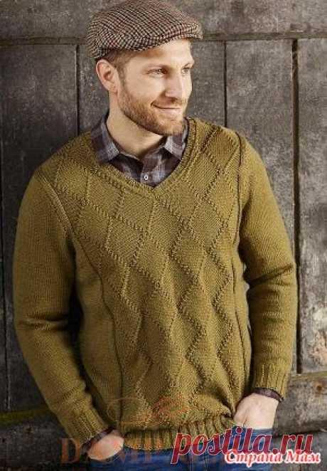 Мужской пуловер «Olive Grove» Мужской пуловер можно носить как дома, так и на работе. Рельефные линии разбивают рисунок на крупные ромбы.