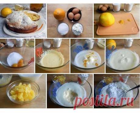 Апельсиновая шарлотка.  Необходимые ингредиенты:   - крупный апельсин – 1 шт.,  - мука пшеничная – 1 стакан,  - сахарный песок – 1 стакан,  - яйца куриные – 3 шт.,  - соль – щепотка,  - сливочное масло – для смазывания формы
