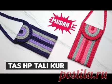 Cara Membuat Tas HP menggunakan Tali Kur ! Mudah Banget   DIY Mobile Phone Bag With Rope