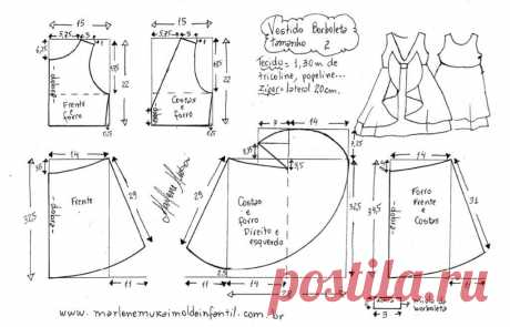 Pattern of a summer dress for the girl from 1 year to 14 years (Sewing and a cut) | the Inspiration of the Needlewoman Magazine