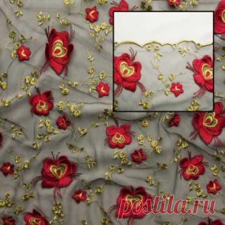 Вышивка на сетке макраме - цветы - купить ткань онлайн через интернет-магазин ВСЕ ТКАНИ