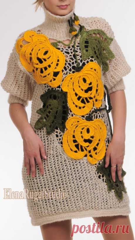 Вязание туники декорированной цветочными вставками - Схемы с описанием вязания модели №1038