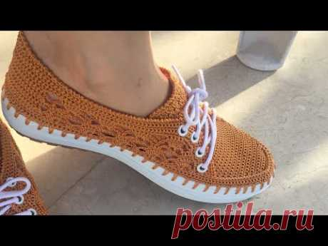Şık ve Zarif Yazlık Dantel modelli  Ayakkabı Yapımı 1 Bölüm # örgü ayakkabı yapımı # knitting shoes