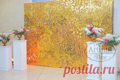 Стена с квадратными пйетками   Свадебное оформление фотозоны золотыми пайетками - Артмикс Декор