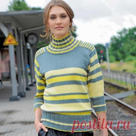 Свитер с полосами разной ширины Чередование полос разных оттенков и ширины наделяет этот свитер долей изысканности.