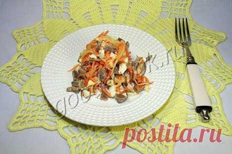острый салат с корейской морковкой и куриными желудками. Рецепт приготовления. Хорошая кухня