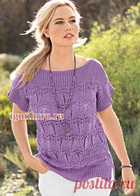 Сиреневый ажурный пуловер с горловиной-лодочкой. Вязание спицами