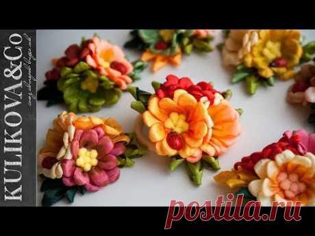 Осенние Канзаши Цветы из Узкой Ленты DIY от Irina Osinina