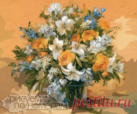 Цветы по номерам на холсте