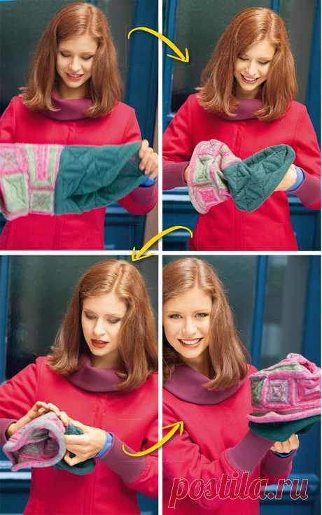 Шапка-шарф - схема вязания спицами. Вяжем Шапки на Verena.ru