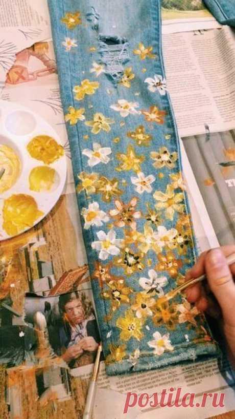 Как сделать роспись акрилом на джинсе своими руками