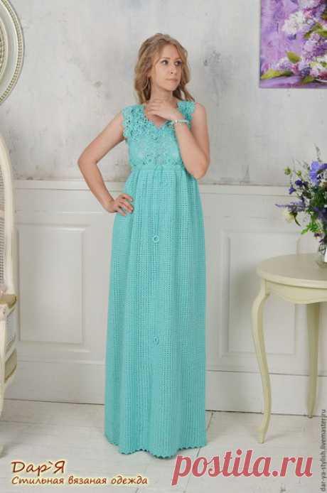 """Купить """"Ирия"""" вязаное летнее платье - платье, платье крючком, вязаное платье, кружевное платье"""