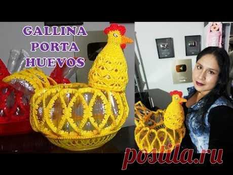Como hacer una Gallina Porta Huevos tejido a crochet paso a paso hecho con botellas plásticas pets .