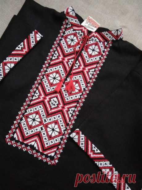 Льняная мужская вышиванка Ткань: белорусский лён, ручная вышивка