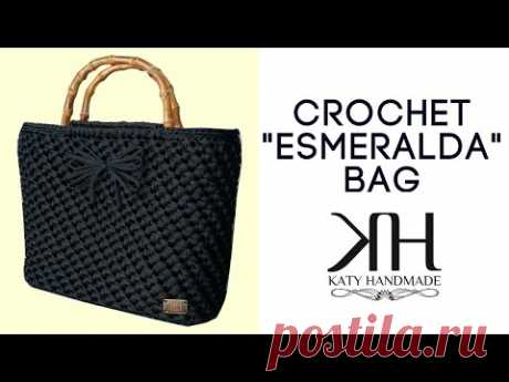 "Tutorial borsa uncinetto ""Esmeralda"" | Punto spiga | How to make a crochet bag || Katy Handmade"