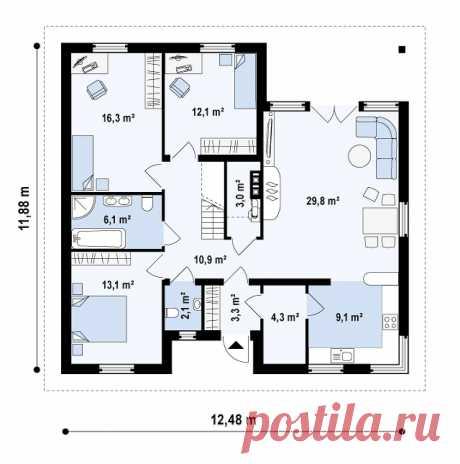 Проект небольшого мансардного дома без гаража Z 84 купить в Минске на Territoria.by