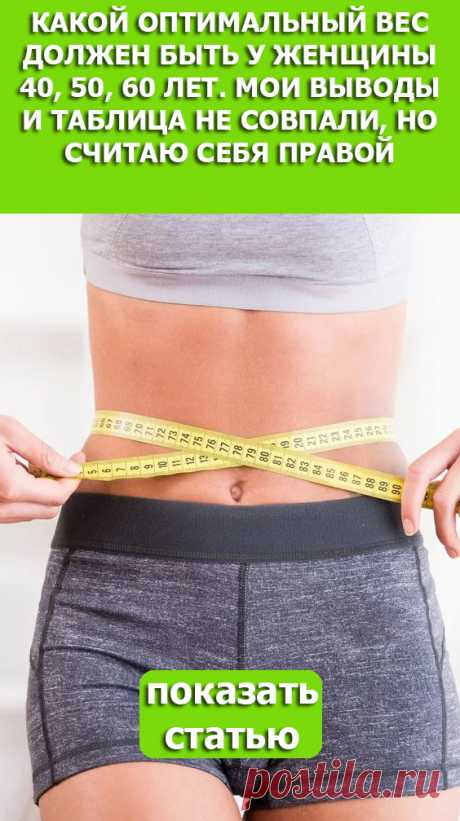 СМОТРИТЕ: Какой оптимальный вес должен быть у женщины 40, 50, 60 лет. Мои выводы и таблица не совпали, но считаю себя правой