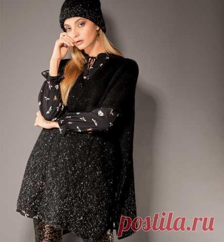 Пончо из полос - схема вязания спицами с описанием на Verena.ru