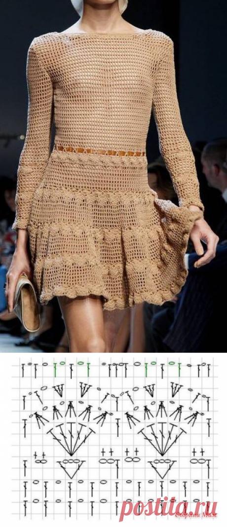 Вязаное платье крючком от Salvatore Ferragamo - схема платья крючком
