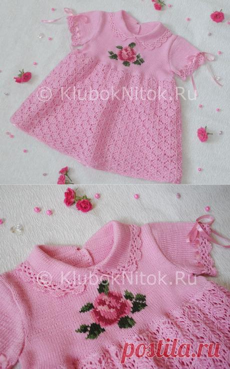 Платье с розочкой   Вязание для девочек   Вязание спицами и крючком. Схемы вязания.