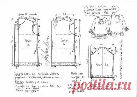 Выкройка летней блузки простого кроя (Шитье и крой) – Журнал Вдохновение Рукодельницы