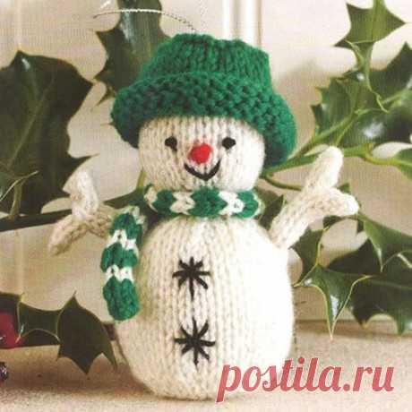 Снеговик спицами – новогоднее украшение, Вязаные игрушки