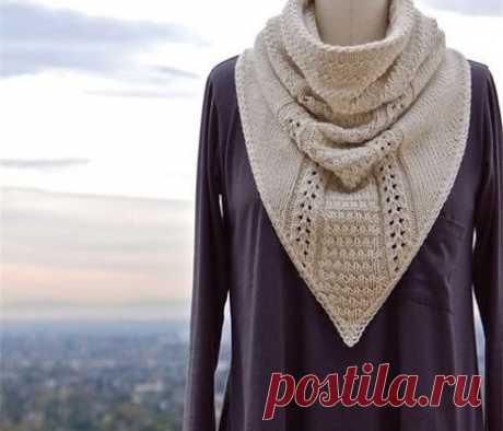 Красивое вязание | Снуд-манишка спицами.