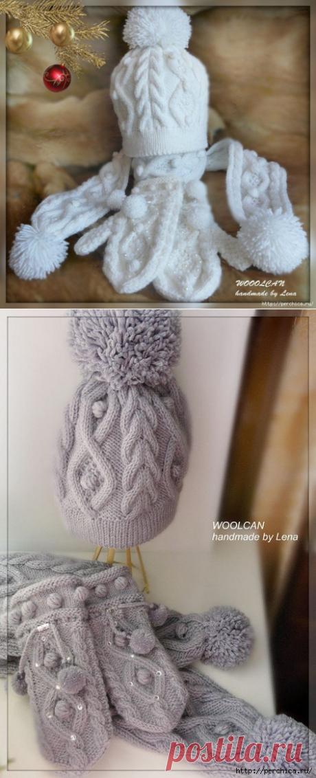 Вяжем подарки к Новому году! Теплый зимний вязаный комплект состоит из 3 предметов: вязаной шапочки ...