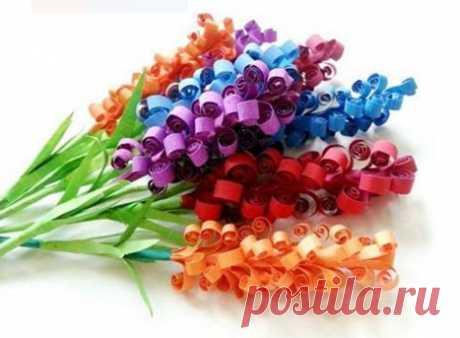 Простые цветы из бумаги. Поделки к празднику своими руками.   ИЗ БУМАГИ СВОИМИ РУКАМИ