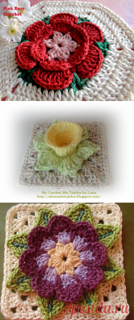 Motives with volume flowers for napkins and plaids — Needlework